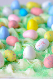 Easter Egg Bark Candy topped with Robin Eggs