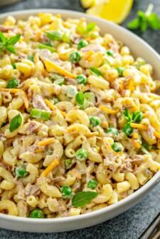 Creamy tuna macaroni salad in a bowl.