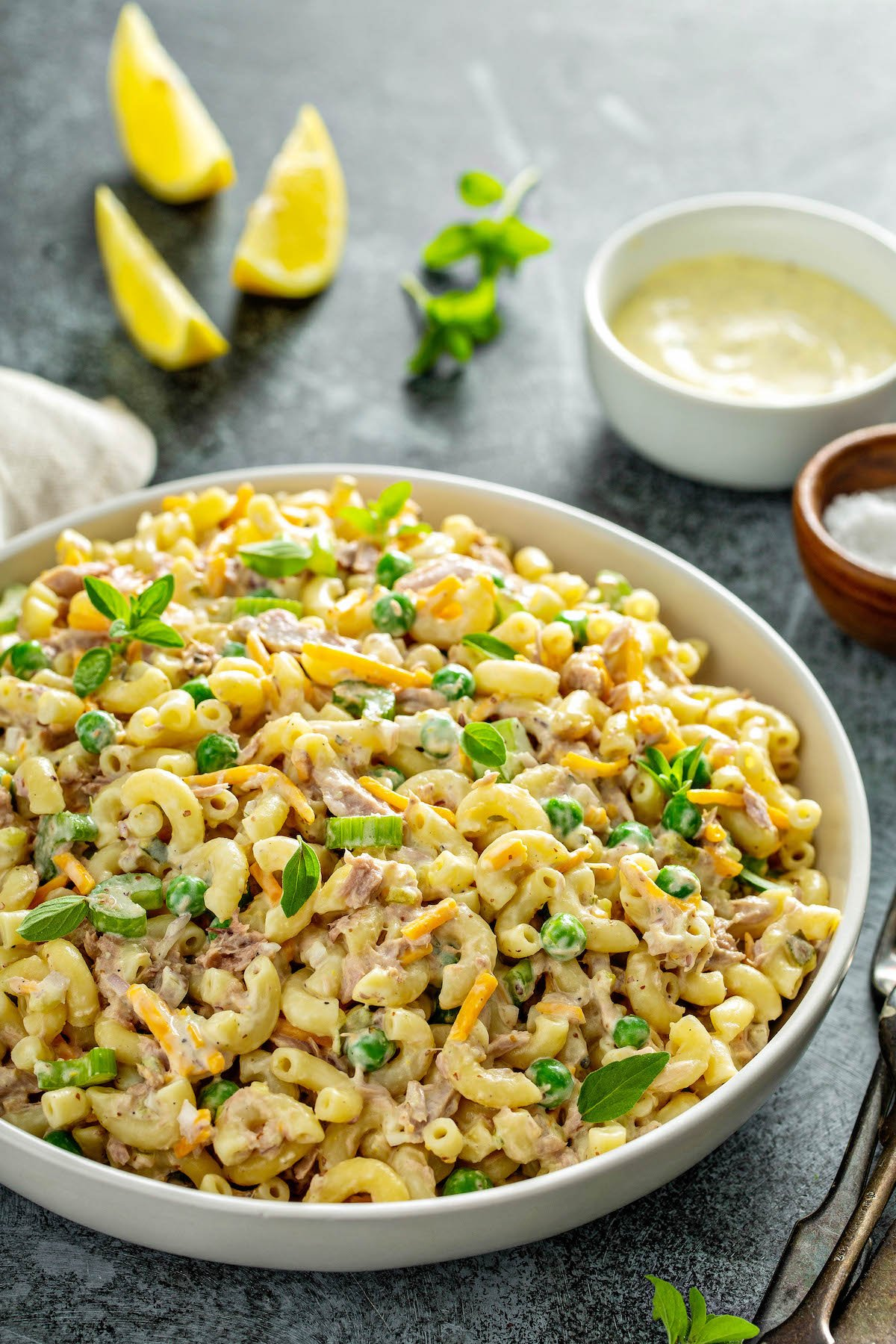Tuna pasta salad with peas and macaroni.