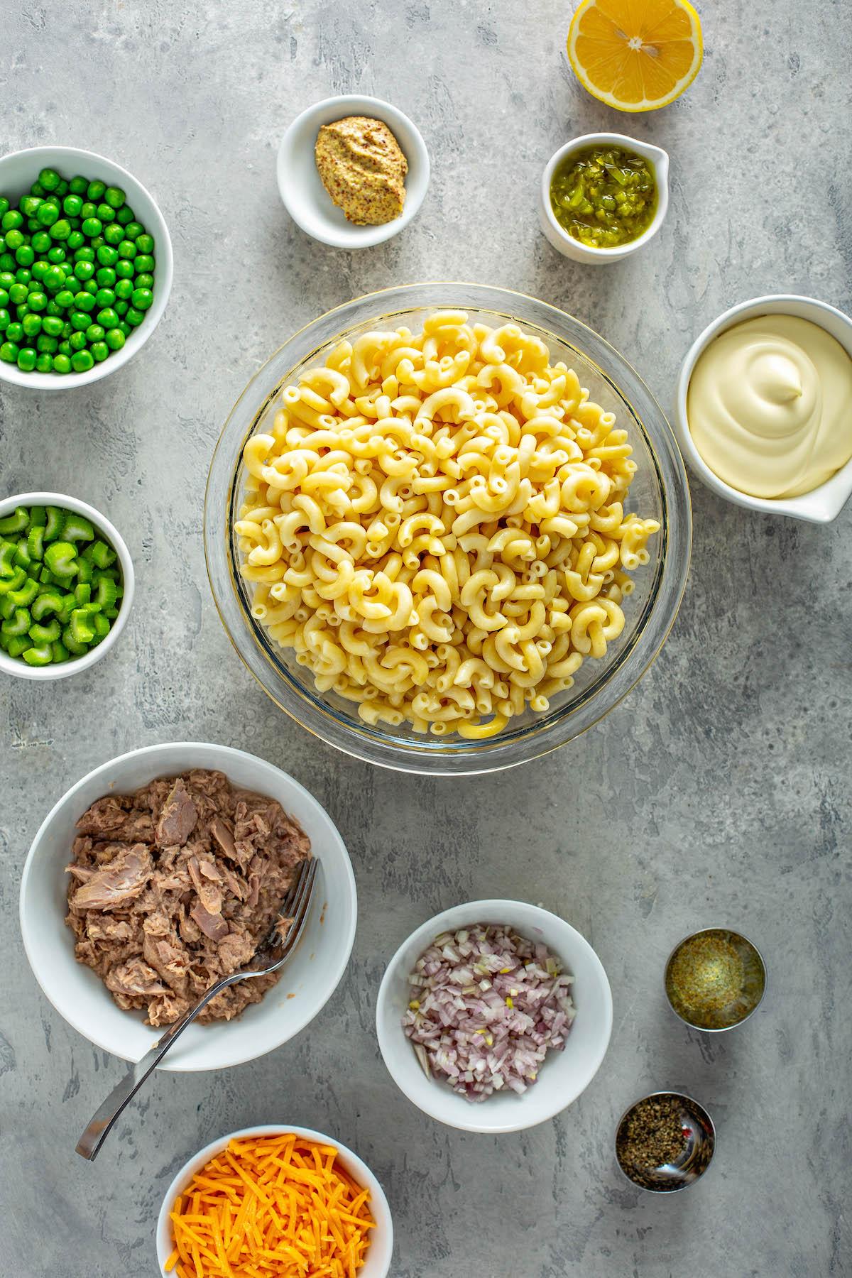 Ingredients for tuna macaroni salad.