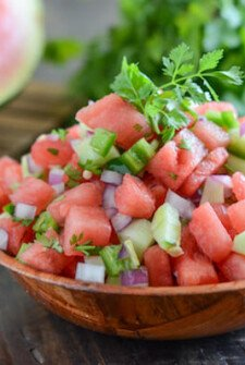 Watermelon Salsa in a wooden bowl