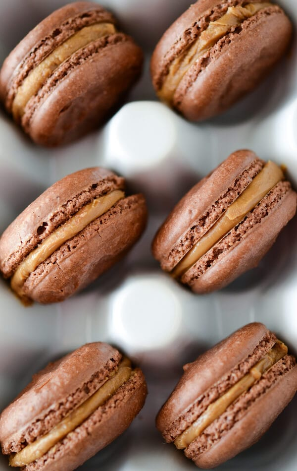 Chocolate Biscoff Macarons: Part of the Top 12 Cookies to make for a Cookie Exchange! Recipe on www.thenovicechefblog.com