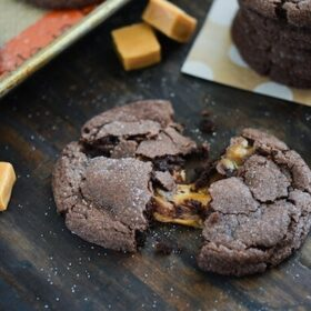 These chocolate caramel cookies are so easy to make and stuffed with cubes of caramel.