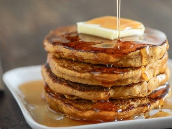 Super Easy Pumpkin Pancakes made using store bought pancake mix!