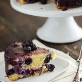 This slice of blueberry upside down cake is so moist and delicious.