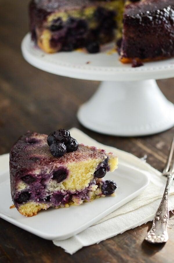 Blueberry Upside Down Cornmeal Cake via www.thenovicechefblog.com