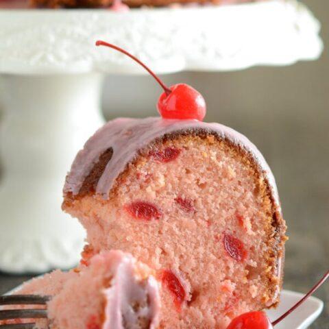 Cherry Almond Bundt Cake recipe via www.thenovicechefblog.com