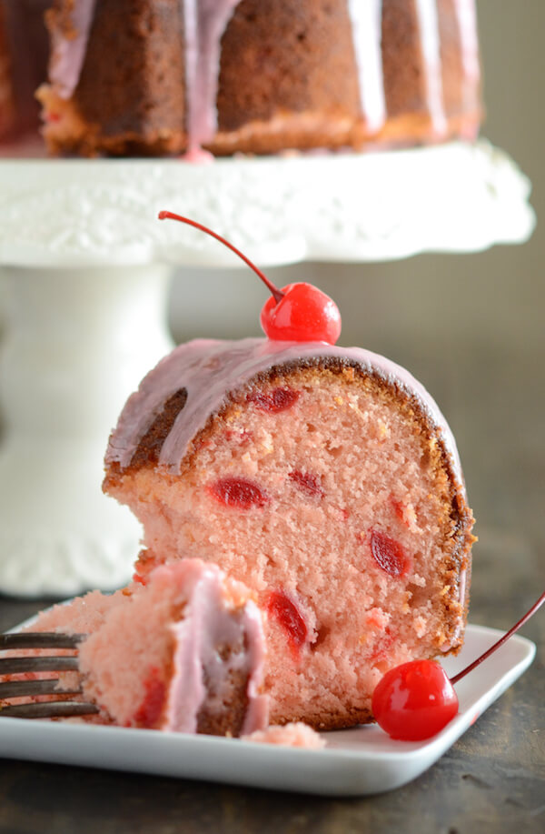 Cherry Almond Bundt Cake recipe via www.thenovicechefblog.com