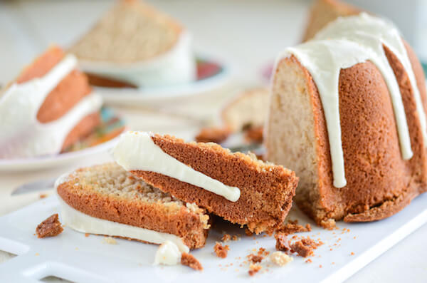 Spiced Buttermilk Pound Cake topped with an almond vanilla glaze!