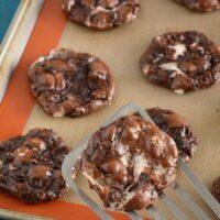 Flourless Chocolate Fudge Marshmallow Cookies on a cookie sheet