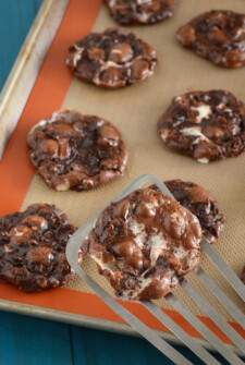 Flourless Chocolate Fudge Marshmallow Cookies on a cookie sheet