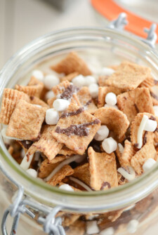 Close up of Smore's Snack Mix in a glass jar