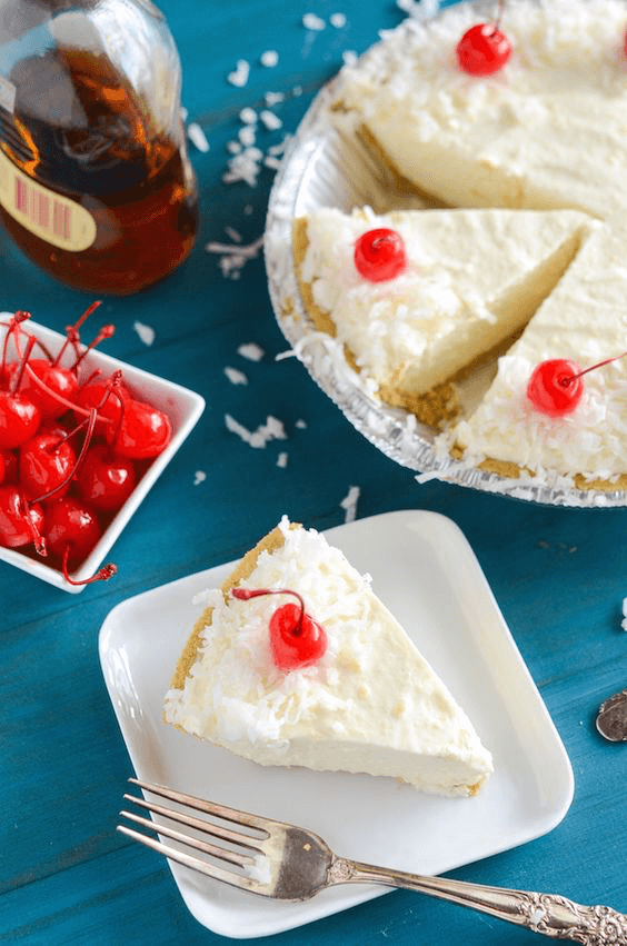Boozy Piña Colada No Bake Pie - with Coconut, Pineapple and Rum!