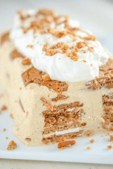 Oatmeal Creme Pie Ice Cream Cake on a white platter