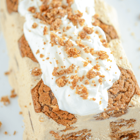 Oatmeal Creme Pie Ice Cream Cake on a white platter