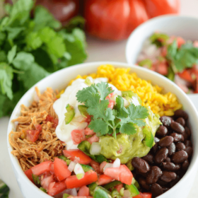 Salsa Chicken Bowl topped with sour cream and guacamole