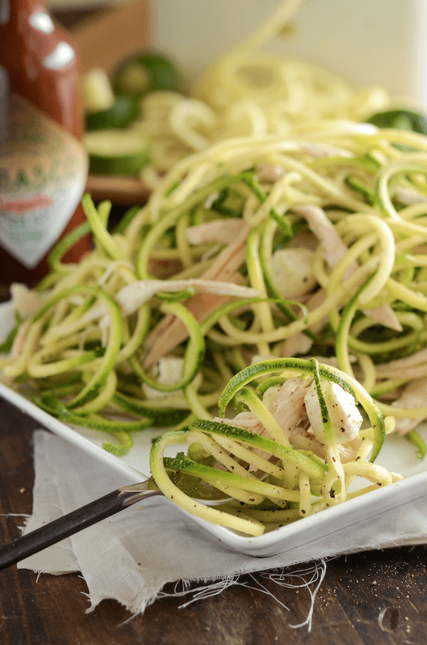Chipotle Chicken Zoodle Salad! The perfect make ahead healthy lunch for work!