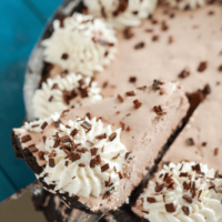 A Metal Dessert Spatula Scooping Out a Slice of Mocha Pie From a Pie Tin