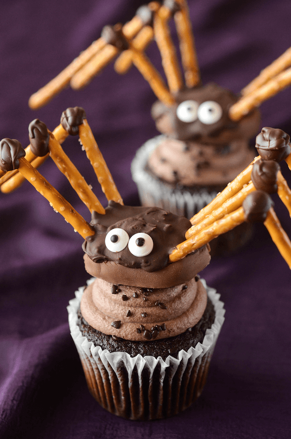 A Close-Up Shot of a Pretzel Spider on Top of a Chocolate Cupcake