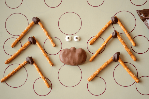 The Pretzel Legs, Reese's Body and Candy Eyes for a DIY Dessert Spider