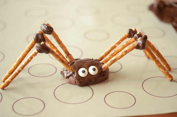 A DIY Chocolate Spider with Candy Eyes Stuck on with Melted Chocolate