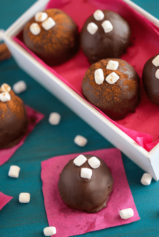 Mexican Chocolate Truffles topped with mini marshmallows