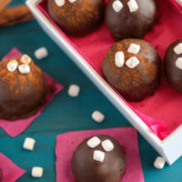 Six Mexican Hot Chocolate Truffles Topped with Three Mini Marshmallows Each