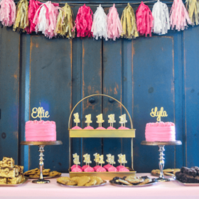 Pink & Gold First Birthday Party for one year old twins - cakes featured