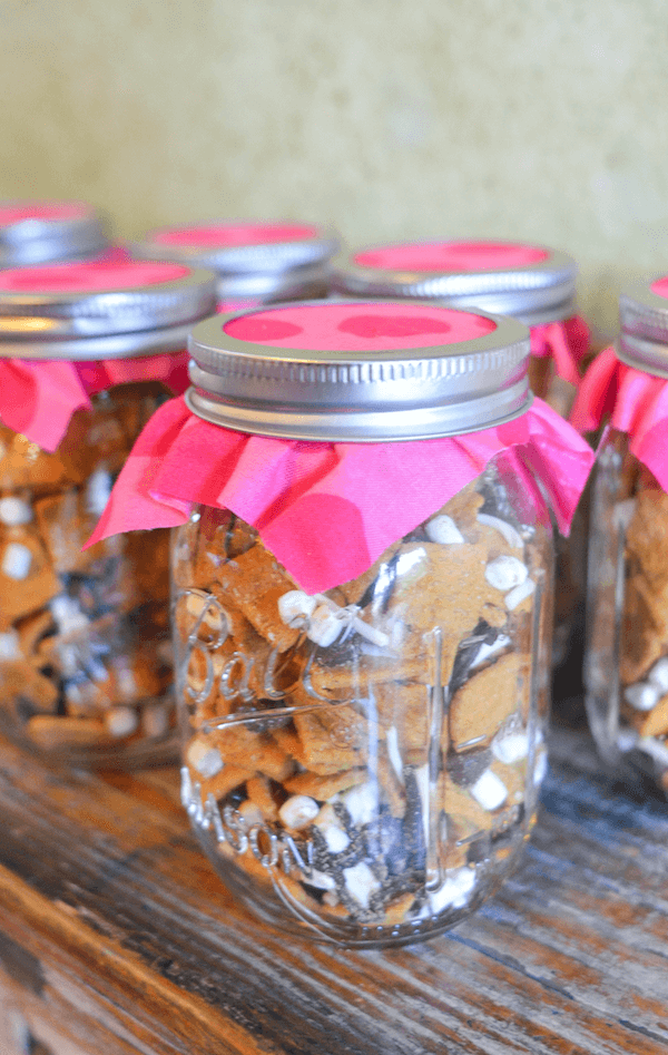 Pink Gold First Birthday Party Smores Snack Mix Favor