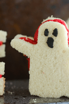 Pound Cake Ghost Sandwiches with Raspberry Buttercream and boo faces