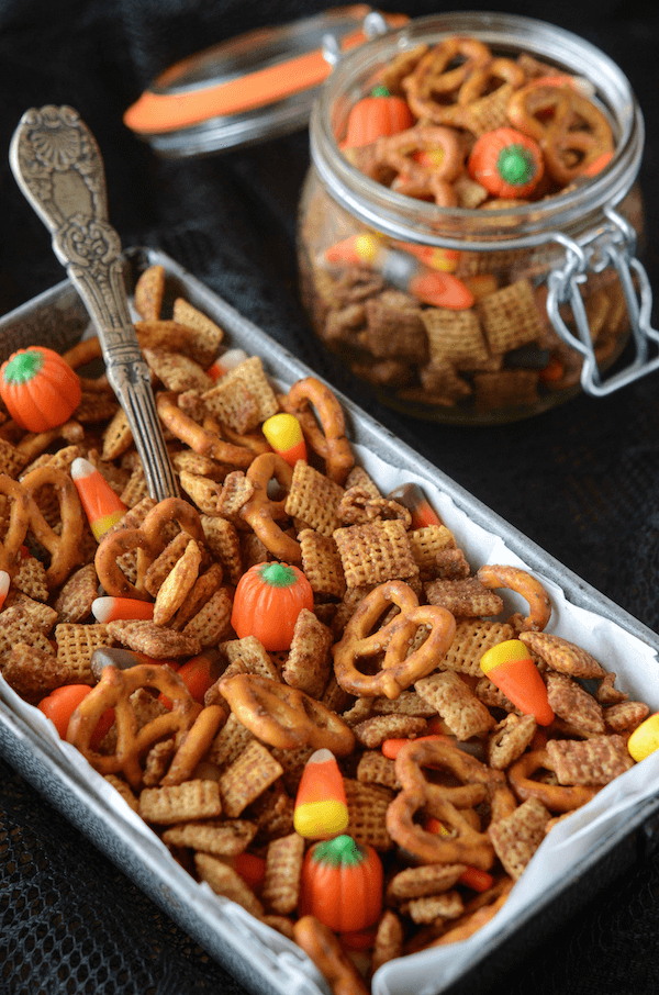 Pumpkin Spice Chex Mix! You can make it in the oven and your house will smell amazing or quickly in the microwave!