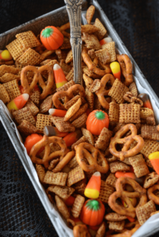Pumpkin Pie Spice Chex Mix in a silver dish