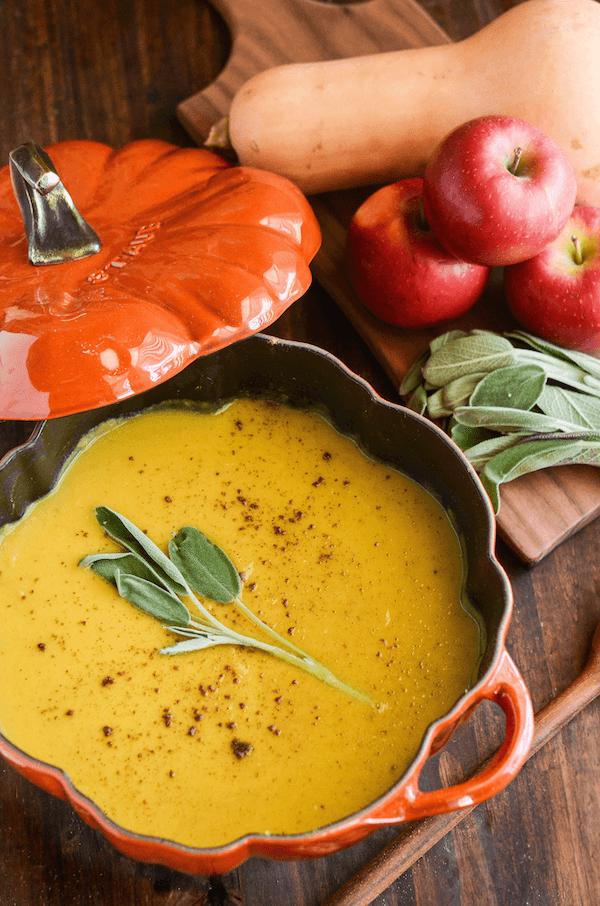 Butternut Squash, Apple & Sage Soup in a Pumpkin Bowl
