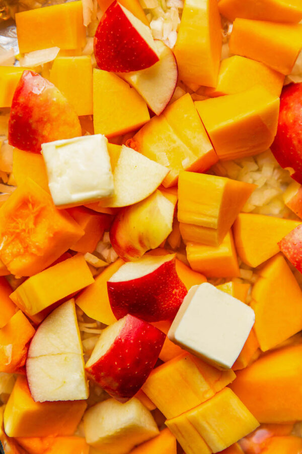 Roasted Butternut Squash and Apples on a sheet pan.