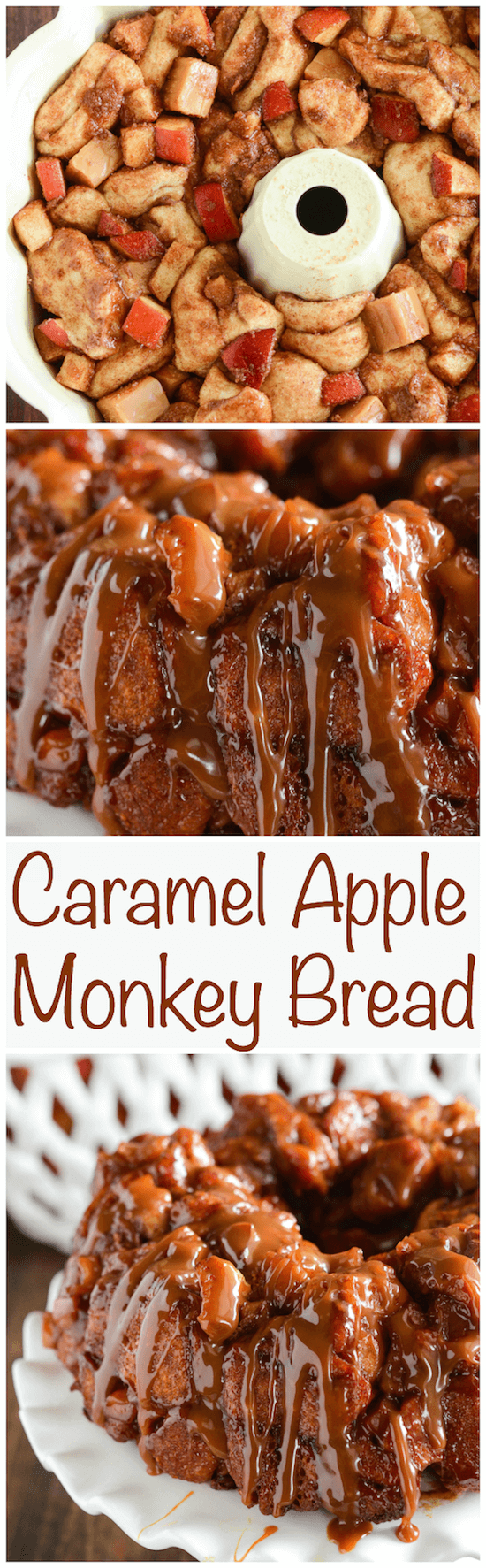 Caramel Apple Monkey Bread - only 6 ingredients! Caramel, fresh apple bites and lots of sweet cinnamon roll bites!