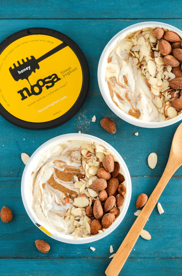 Honey Almond Yoghurt Breakfast Bowl - honey yoghurt, almond butter, almonds and honey!