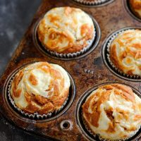 Pumpkin Cream Cheese Swirl Muffins: my favorite pumpkin muffins ever. You start with a moist spiced pumpkin muffin and top it with swirls of sweet cream cheese that melt into the top as it bakes. Bonus? They only take 30 minutes to make!