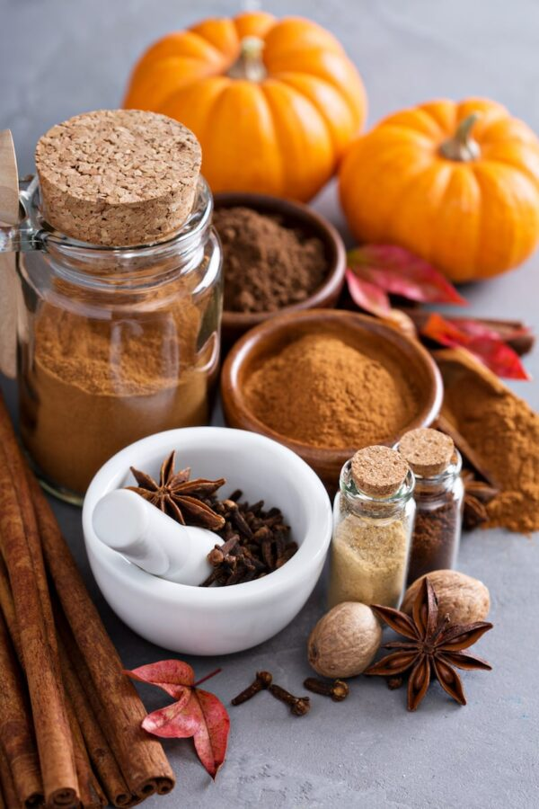 Homemade pumpkin spice with pumpkins.
