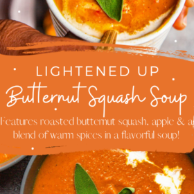 Pinterest collage image of butternut squash soup with cream and sage on top.