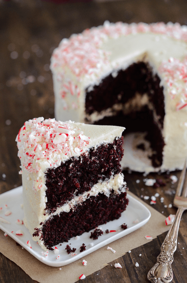 Chocolate Peppermint Dream Cake: my favorite moist chocolate cake with creamy peppermint frosting and crushed candy canes!