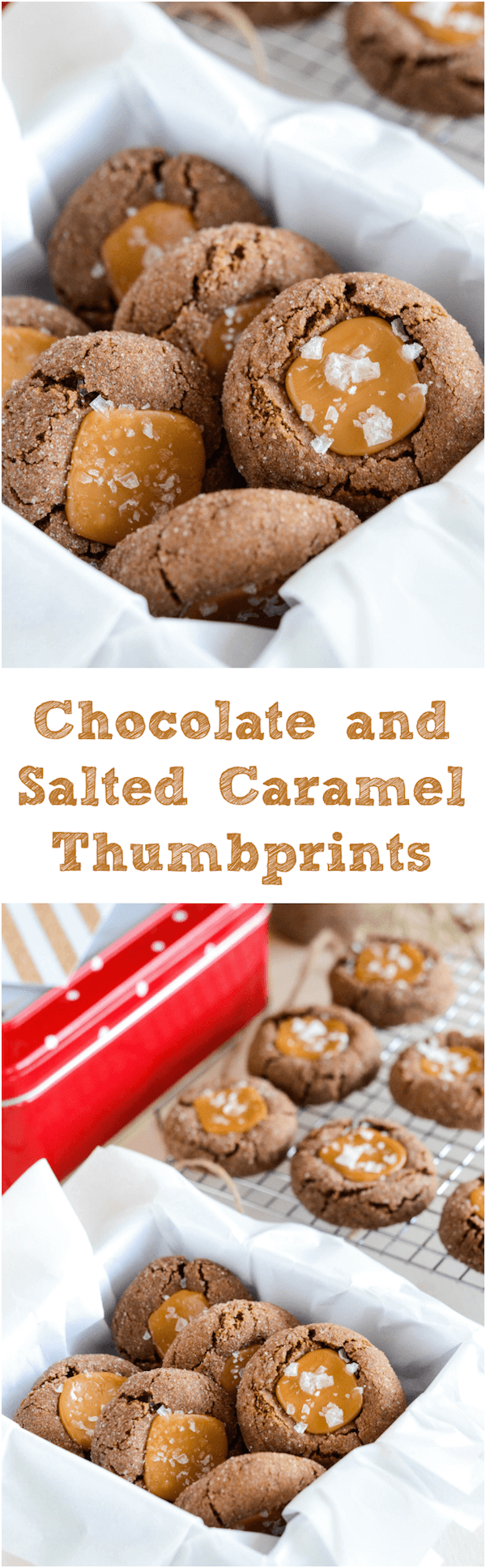 Chocolate and Salted Caramel Thumbprint Cookies