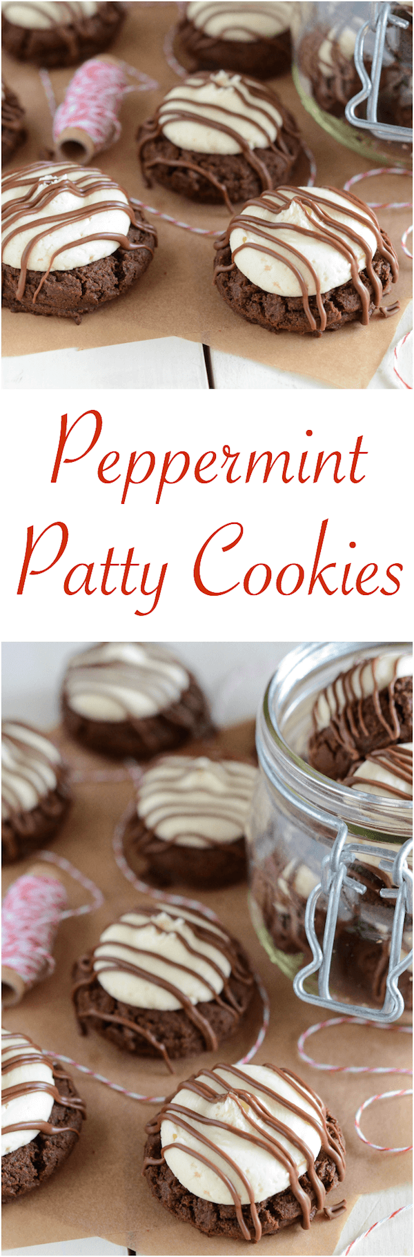 Peppermint Patty Cookies: dark chocolate cookies, creamy peppermint frosting and an extra chocolate drizzle!