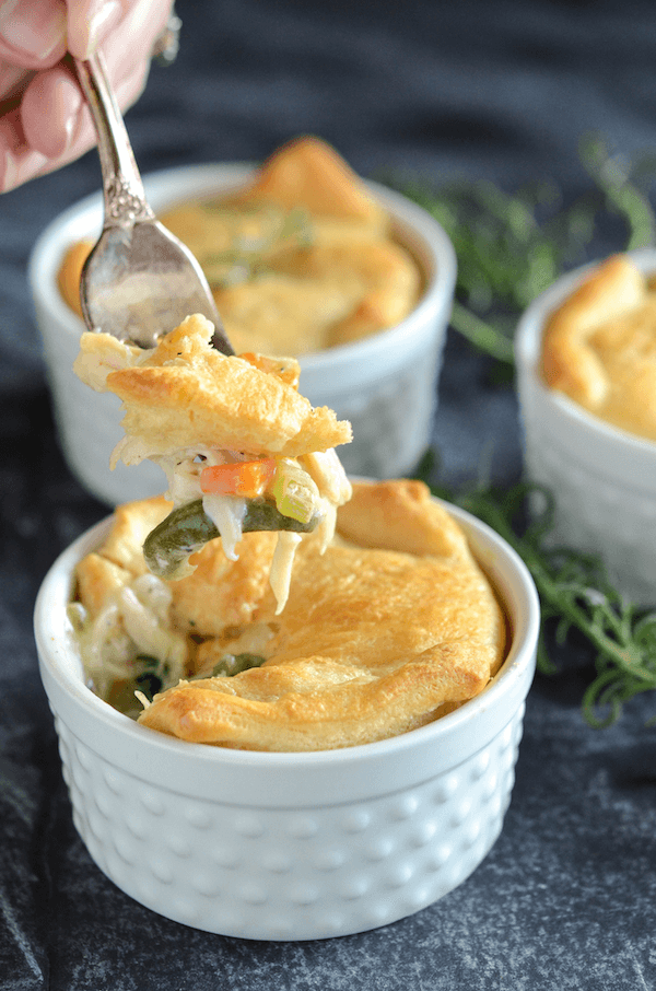 Chicken Soup Casserole - topped with buttery crescent dough!