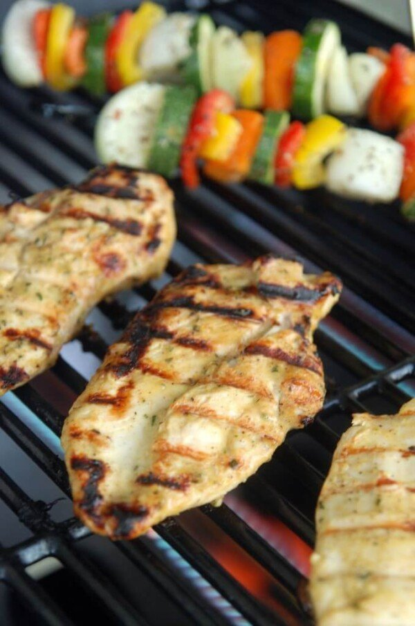 Grilled Rosemary Honey Mustard Chicken on the Grill with Vegetable Skewers