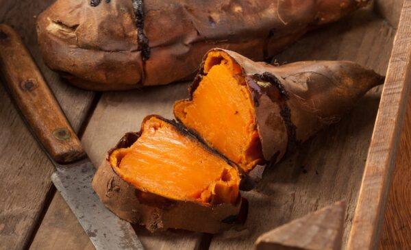 Baked Sweet Potato sliced in half.