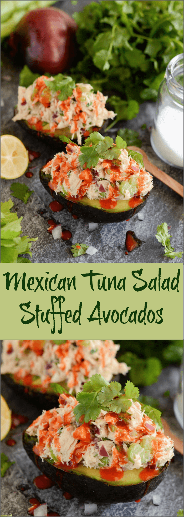 Mexican Tuna Salad Stuffed Avocados photo collage