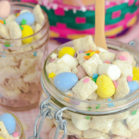 This cake batter bunny chow is made with marshmallows and Cadbury eggs.