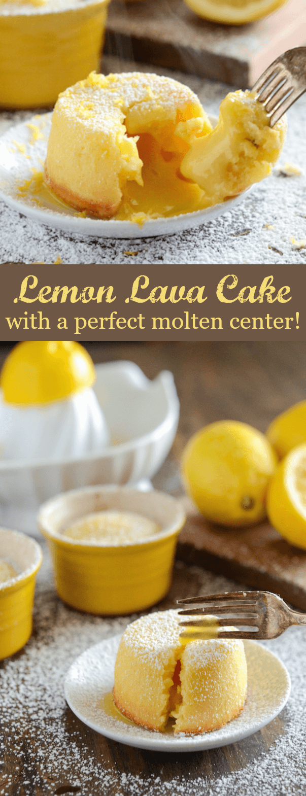 A Collage of Two Images of Lemon Lava Cake with the Molten Center Shown Off