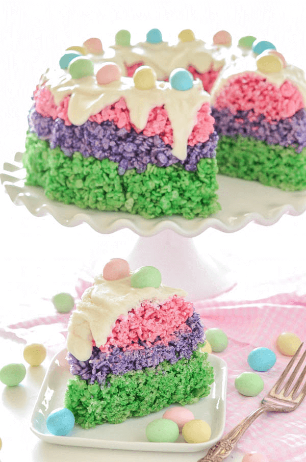 Easter rice krispie cake the novice chef easter rice krispie cake festive easy no bake dessert for easter ccuart Choice Image
