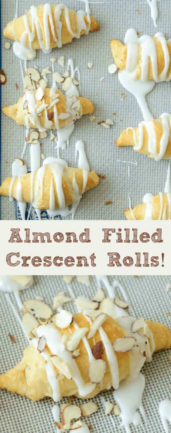 Almond Crescent Rolls Arranged on a Baking Pan With a Frosting Drizzle